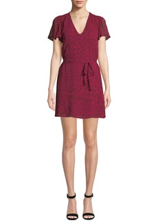 Paige Denim Coco Short Animal-Print Silk Dress