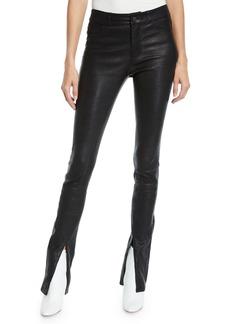 Paige Denim Constance Split-Front Leather Skinny Pants