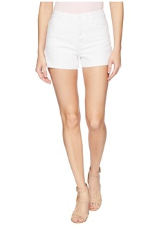 Paige Denim High-Rise Sarah Shorts w/ Exposed Button Fly + Raw Hem in Lived In Crisp White