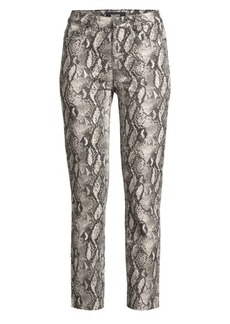 Paige Hoxton Slim-Fit Raw Hem Python Jeans