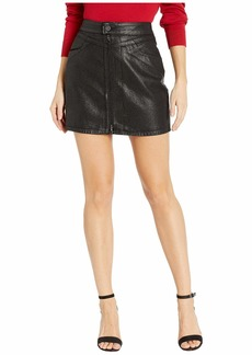 Paige Denim Jamine Skirt with Zip Front in Sparkle Coating