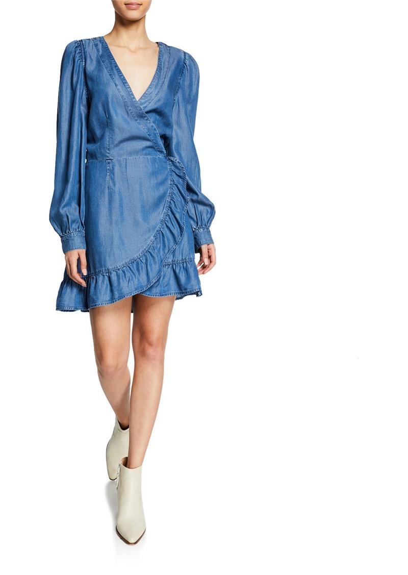 Paige Kendry Long-Sleeve Ruffle Short Dress