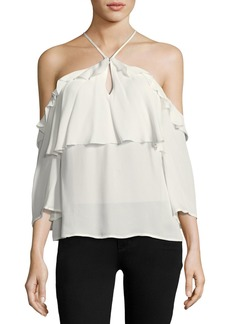 Paige Denim Luciana Halter Off-the-Shoulder Ruffled Silk Blouse