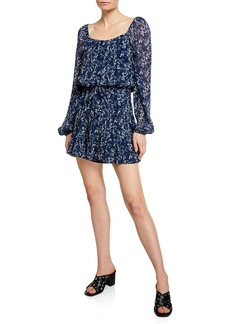 Paige Marjoram Square-Neck Long-Sleeve Mini Dress