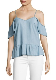 Paige Denim Mitzi Chambray Cold Shoulder Top