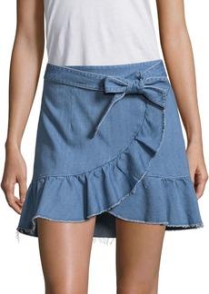 Paige Denim Nivelle Mantra Faux-Wrap Denim Skirt