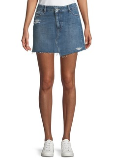 Paige Denim PAIGE Afia A-Line Distressed Denim Mini Skirt