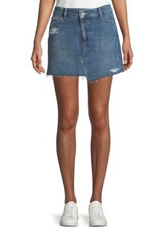Paige Denim Afia A-Line Distressed Denim Mini Skirt