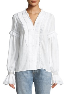 Paige Denim PAIGE Alonza Long-Sleeve Ruffled Cotton Blouse with Ruffled Trim