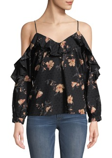 Paige Denim Arabeth V-Neck Cold-Shoulder Floral-Print Cotton Dobby Blouse