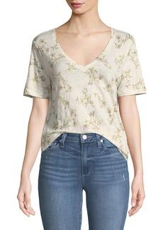 Paige Denim Arielle V-Neck Short-Sleeve Floral-Print Linen Tee