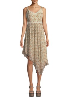 Paige Denim Aubrey Botanical Floral-Print Georgette Midi Dress w/ Lace