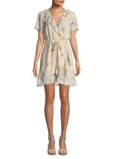 PAIGE Cardamom Floral Silk Wrap Dress