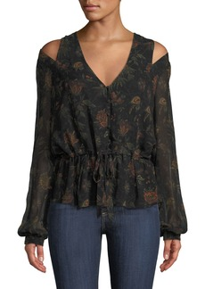 Paige Denim PAIGE Carmona Printed Cold-Shoulder Blouse