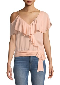 Paige Denim PAIGE Chereen Ruffle One-Shoulder Silk Top