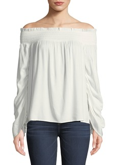 Paige Denim Cherita Smocked Off-the-Shoulder Drawstring Sleeve Top