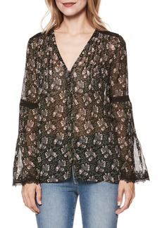 Paige Denim PAIGE Clio Floral Bell Sleeve Silk Blouse