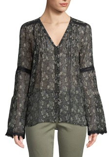 Paige Denim Clio V-Neck Bell-Sleeves Floral-Print Sheer Silk Blouse w/ Lace