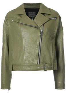 Paige Denim Paige cropped biker jacket - Green