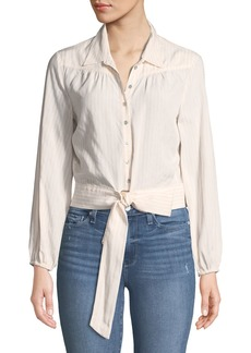 Paige Denim PAIGE Damaris Tie-Front Button-Down Top