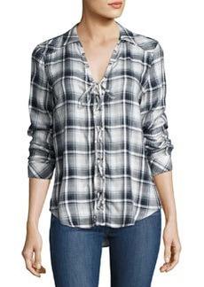 Paige Denim Clea Plaid Lace-Up Shirt