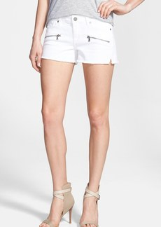 Paige Denim 'Indio' Zip Detail Cutoff Denim Shorts (Optic White)