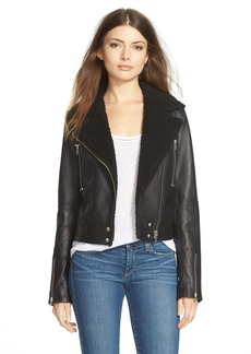 Paige Denim 'Rooney' LeatherJacket with FauxShearlingCollar