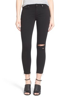 Paige Denim 'Transcend - Verdugo' Crop Skinny Jeans (Black Destructed)
