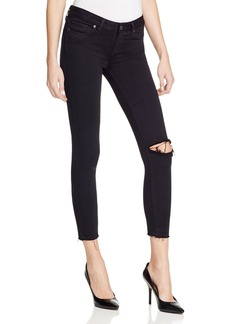 Paige Denim Verdugo Crop Jeans in Jet Black Destroyed