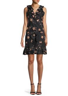 Paige Denim PAIGE Farfalla V-Neck Sleeveless Floral-Print Cotton Dress