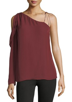 Paige Denim Florentina One-Shoulder Silk Blouse
