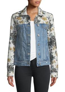Paige Denim Harrison Button-Front Denim Jacket with Floral Embossing