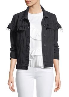 Paige Denim Heidi Button-Front Denim Jacket with Ruffled Trim