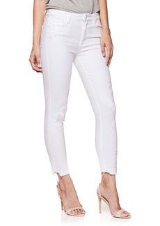 Paige Denim PAIGE Hoxton High Waist Ankle Skinny Jeans (Crisp White Destructed)