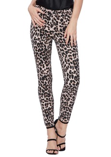PAIGE Hoxton High Waist Raw Hem Ankle Skinny Jeans (Pink Leopard)