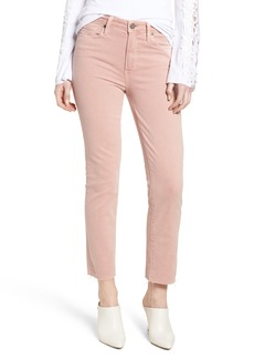 Paige Denim PAIGE Hoxton High Waist Straight Ankle Raw Hem Jeans (Faded Pale Pink)