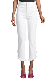 Paige Hoxton High-Waist Straight-Leg Ankle Jeans with Fray Hem