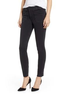 Paige Denim PAIGE Hoxton Utilitarian High Waist Ankle Skinny Jeans (Black Fog Raw Hem)