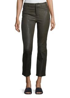 Paige Denim Jacqueline Straight-Leg Stretch-Leather Pants