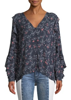 Paige Denim PAIGE Keena Floral Button-Up Ruffle Top