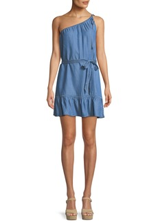 Paige Denim Lauretta One-Shoulder Belted Chambray Mini Dress