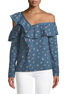 Paige Denim Marlow One-Shoulder Floral-Print Chambray Top