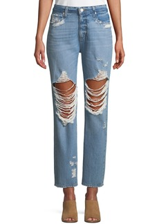Paige Denim Noella Distressed Straight-Leg Jeans