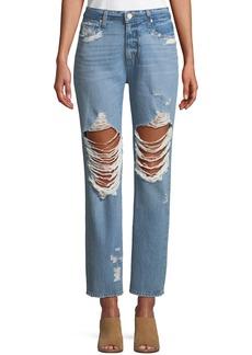 PAIGE Noella Distressed Straight-Leg Jeans
