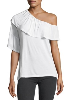 Paige Denim PAIGE Pax One-Shoulder Ruffle Jersey Top
