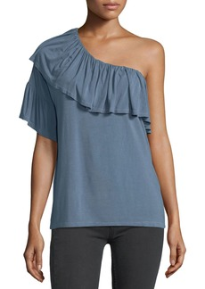 Paige Denim Pax One-Shoulder Ruffled Jersey Top