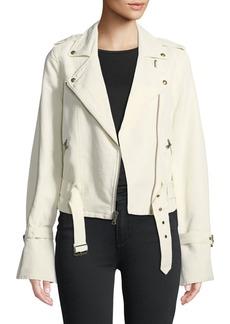 Paige Denim Rhoda Zip-Front Twill Moto Jacket