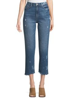 Paige Denim Sarah High-Rise Straight-Leg Crop Jeans with Fray Hem