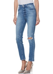 PAIGE Sarah Ripped High Waist Ankle Straight Leg Jeans (Brookview Destructed)