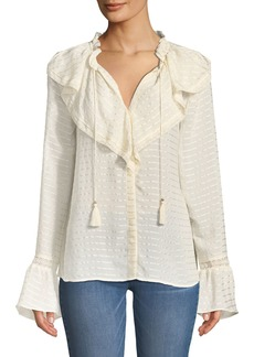 Paige Denim Silvette Ruffled-Neck Bell-Sleeve Striped Blouse